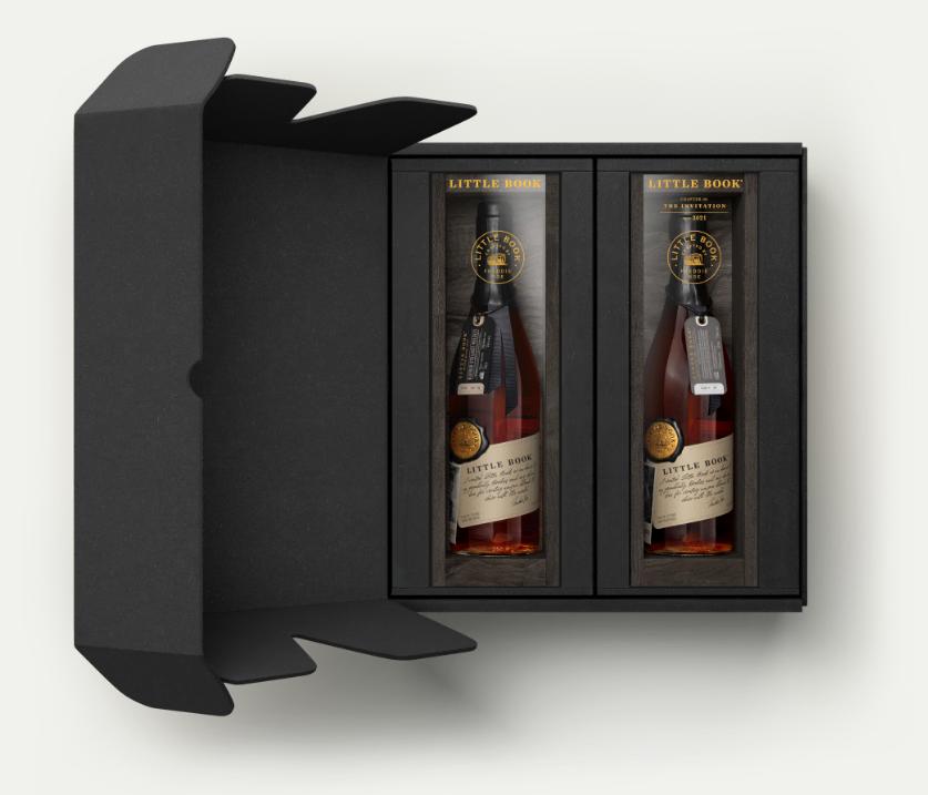 Two bottles of bourbon in black packaging